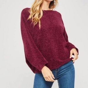Promesa Red Chenille Boat Neck Sweater